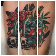 Beach in a bottle tattoo by Kaleo Yangco at 1 Point Tattoo
