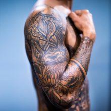 Bicep Tattoo by Simon Halpern at 1 Point Tattoo