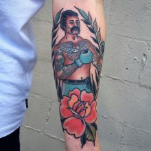 Boxer tattoo by Ash Hochman at 1 Point Tattoo