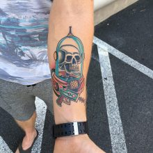 A forearm tattoo by Kaleo Yangco at 1 Point Tattoo