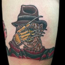 Freddy Krueger tattoo by Ash Hochman at 1 Point Tattoo