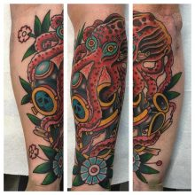 Kracken and diver's helmet tattoo by Kaleo Yangco at 1 Point Tattoo