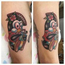 Penguin tattoo by Kaleo Yangco at 1 Point Tattoo
