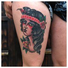 Thigh tattoo by Kaleo Yangco at 1 Point Tattoo