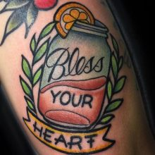 Bless your heart tattoo by Ash Hochman at 1 Point Tattoo