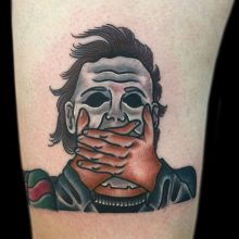 Horror character tattoos by Ash Hochman at 1 Point Tattoo