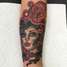 Octopus Woman tattoo by Ash Hochman at 1 Point Tattoo