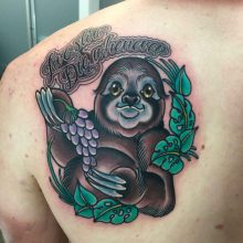 Sloth tattoo by Ash Hochman at 1 Point Tattoo