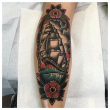 Ship tattoo by Kaleo Yangco at 1 Point Tattoo