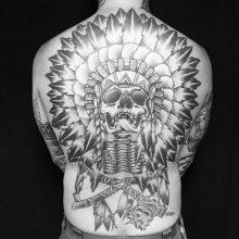 Simon Halpern Skull Head Dress Tattoo