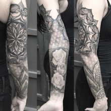Simon Halpern Arm Flower Mandala Tattoo