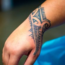 Tribal pattern tattoo after first session of laser tattoo removal 1