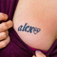 """""""Alex"""" tattoo before laser tattoo removal"""