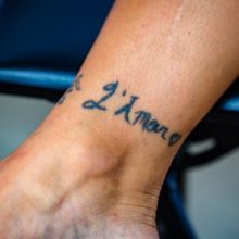 Ankle tattoos before laser tattoo removal - 1