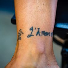 Ankle tattoos before laser tattoo removal - 2