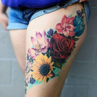 color realism style flowers