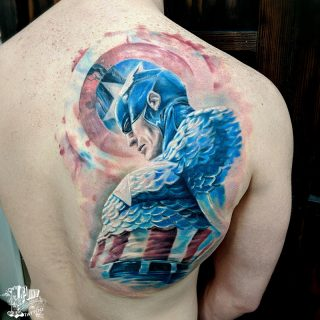 color realism style captain america