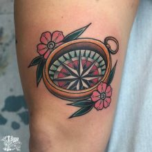 compass tattoo  neo traditional style