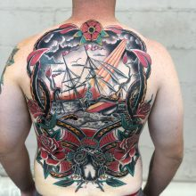 Ship & Octopus Full Back Piece by Kaleo