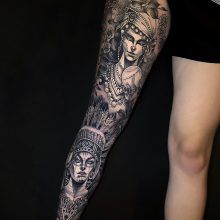 Leg sleeve Tattoo by Yvonne Kang at 1 Point Tattoo
