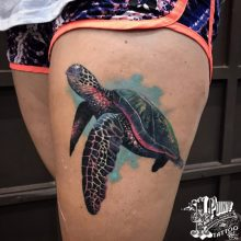 color realism water color style work by Robert @fleshdoctor13 at 1 point tattoo