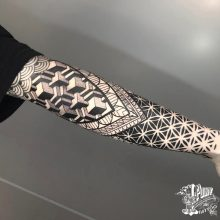 Ornate patterns mandala tattoos by Simon Halpern at 1 Point Tattoo