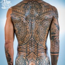 Ornate patterns mandala full back tattoo by Simon Halpern at 1 Point Tattoo