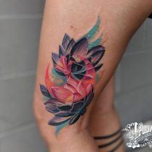 color realism water color style work by Robert @fleshdoctor13 at 1 point tattooI