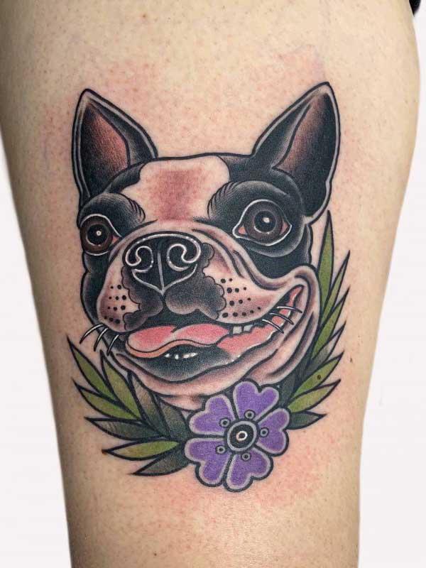 Ash Hochman bull terrier tattoo