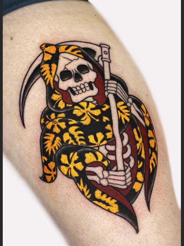 Ash Hochman grim reaper tattoo