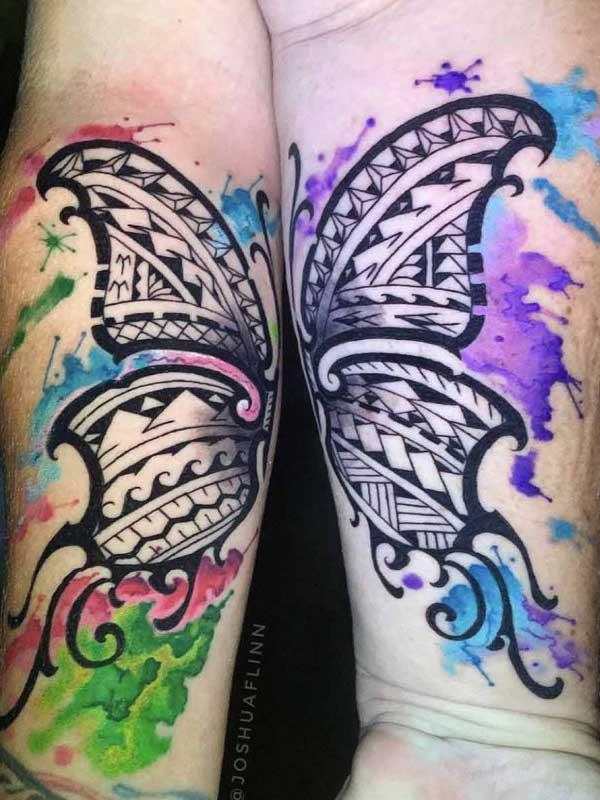 Josh Flinn butterfly polynesian tattoo