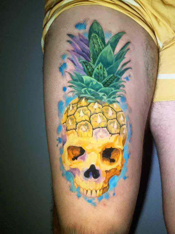 Josh Flinn pineapple skull tattoo