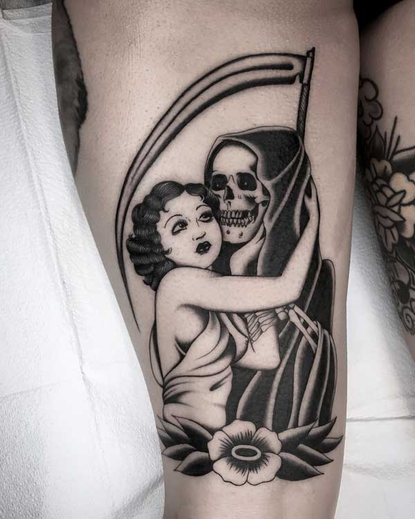 Judd Bowman tattoo of woman with grim reaper