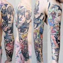 Robert Bennett full sleeve comic tattoo