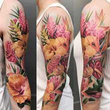 Robert Bennett tropical flower tattoo