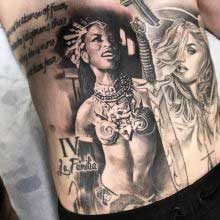 tattoo of two beautiful women by Vincent Samaniego
