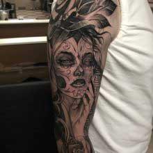 Vincent Samaniego tattoo of womans head