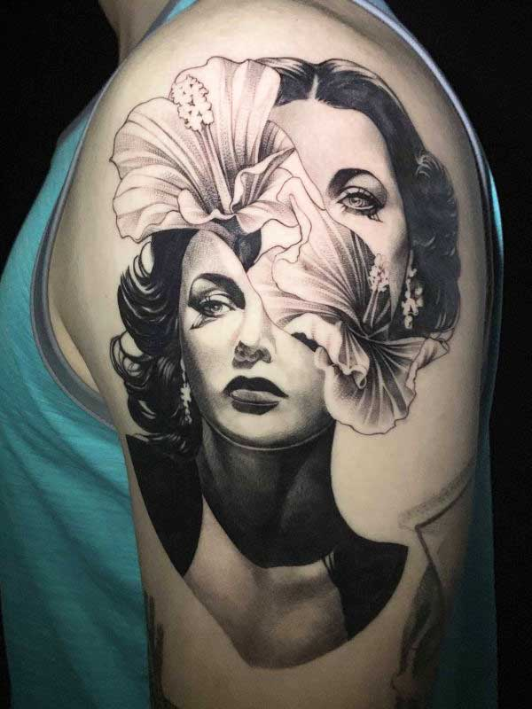 Vincent Samaniego tattoo with woman and flower